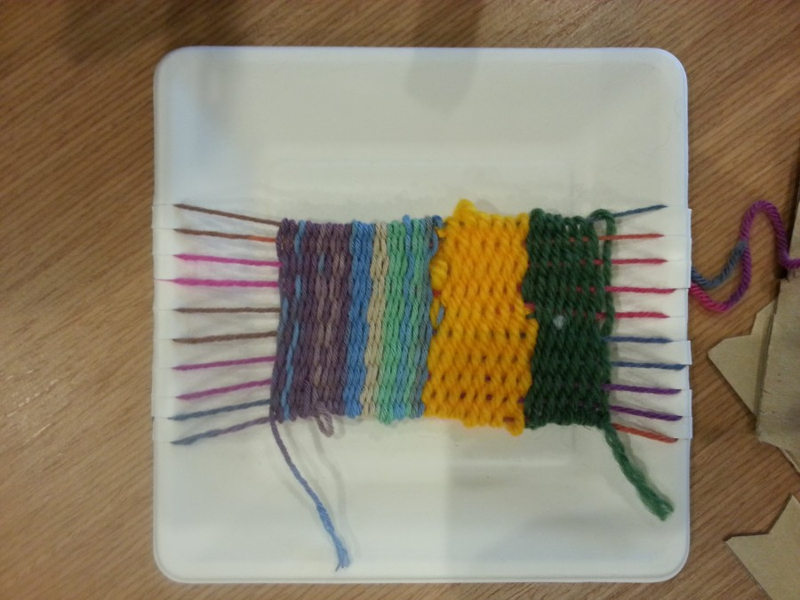 7 year old paper plate weaving